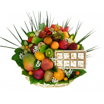 Fruits exotiques accompagné de Nougats tendres Vanille-Amandes (Fabrication Artisanale DAMYEL)