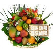 Un bouquet de fruits et du nougat tendre